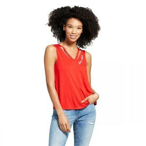 NWT Fifth Sun Cut Out Embroidered Tank Top XS Red